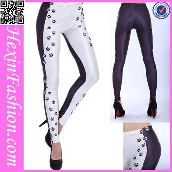 0ae84415336ea1 Black & White Dog Paws Pattern Print Ladies Sexy Tight Leggings ...