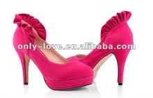 BS488 unique designs fuchsia high heel suede party shoes evening shoes