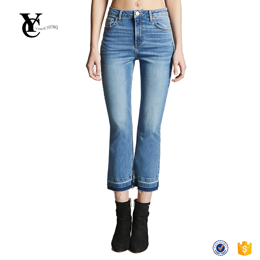 Light released frayed hem mid-rise jeans detail raw cut latest ladies cropped stretch jeans manufacture wholesale women apparel