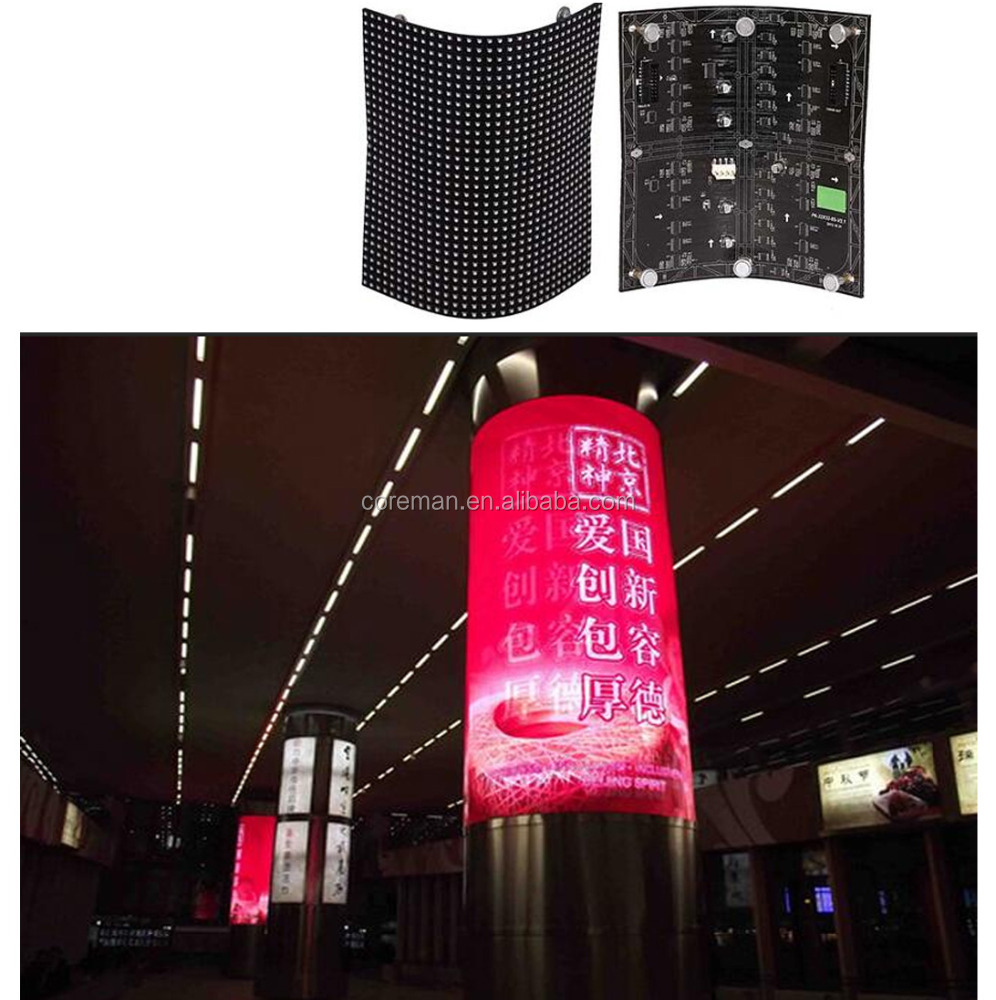 2016 neue produkt p3 p4 p5 p6 p7 p8 p10 flexible led video display runde customed form weiche led bord