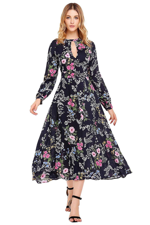 23553148dcc9 Get Quotations · ELESOL Women's Flower Print Keyhole Dress Long Sleeve  Swing Maxi Dress