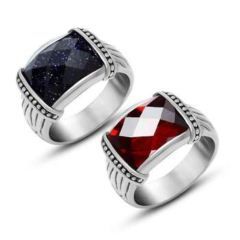 Silver Man Ring Square red and blue Stone crystal Ring Designs for Men Saudi Arabia s925 Silver Rings
