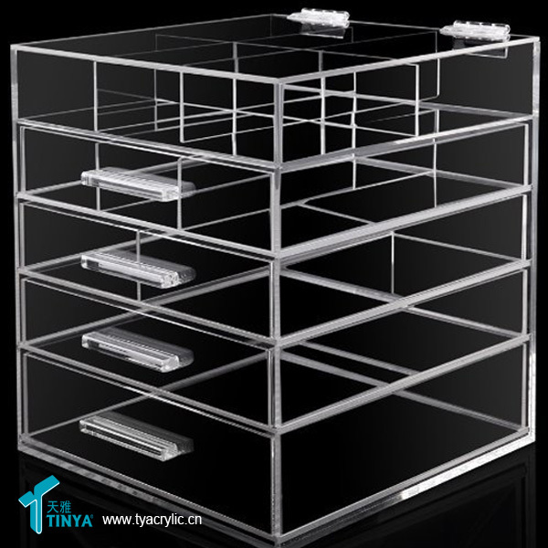 New Products Hair Accessories Storage Cosmetic Organization Clear Acrylic  Box Makeup Case Drawers Display Glass Cabinets