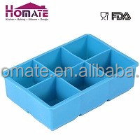 Huge Cubes Big Ice Cube Trays, 6 Cups Square Silicone Ice Tray for Whisky