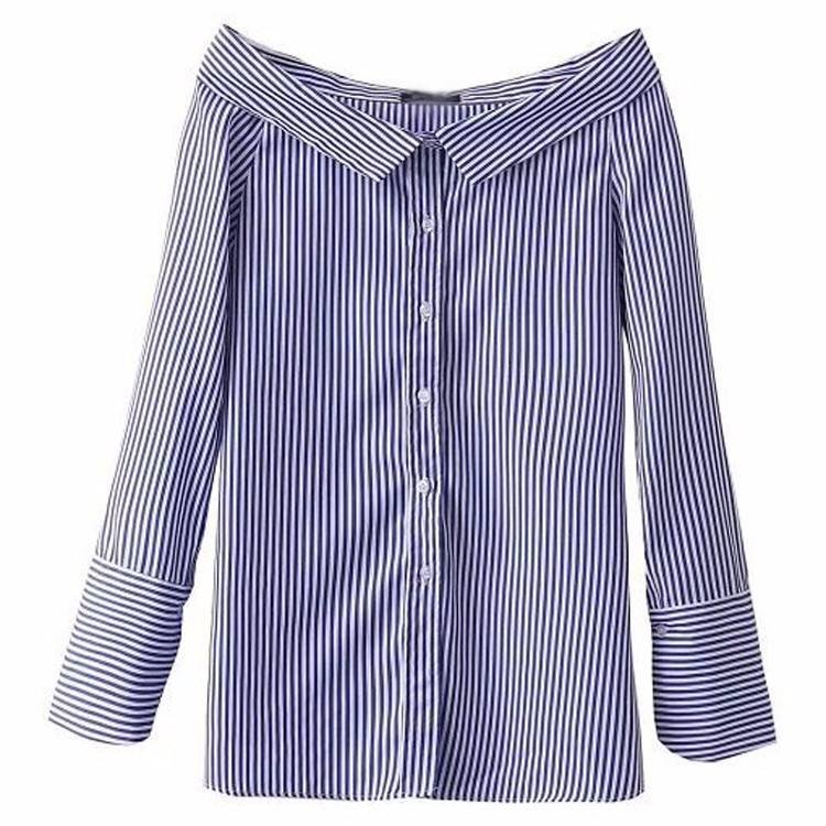 Sexy striped pattern off shoulder peter pan collar shirt for Peter pan shirt pattern