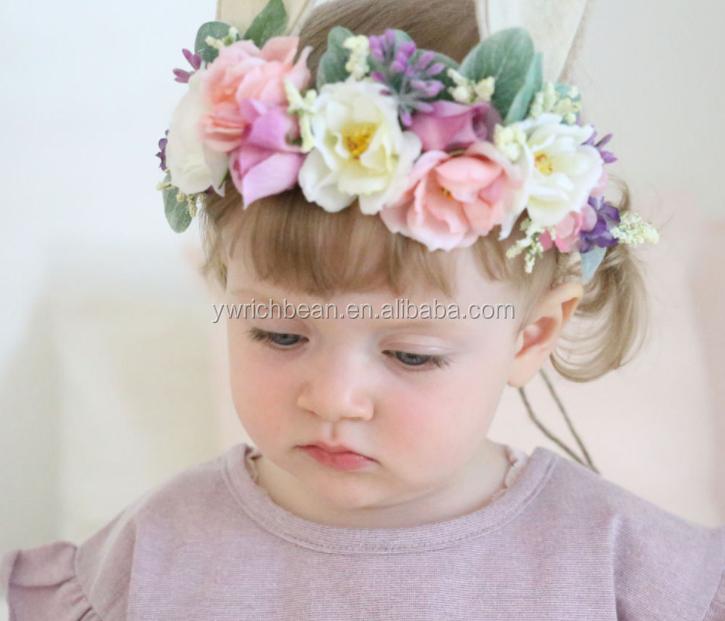 fashion high quality baby bunny flower headaband cute ear headband with  pretty flower 87257b1f1fb