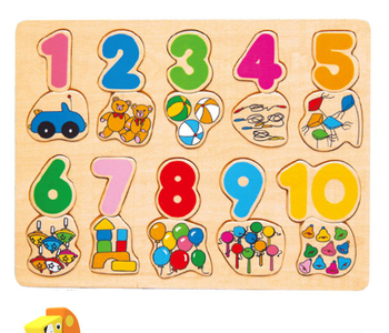 cheap corporate christmas gift kids 1 to 10 nu,bers and fruit design customized size wooden puzzle chunky plastic jigsaw