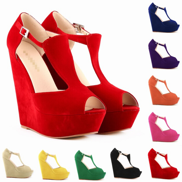 2016 women's high-heeled waterproof girls high platform heel sandals