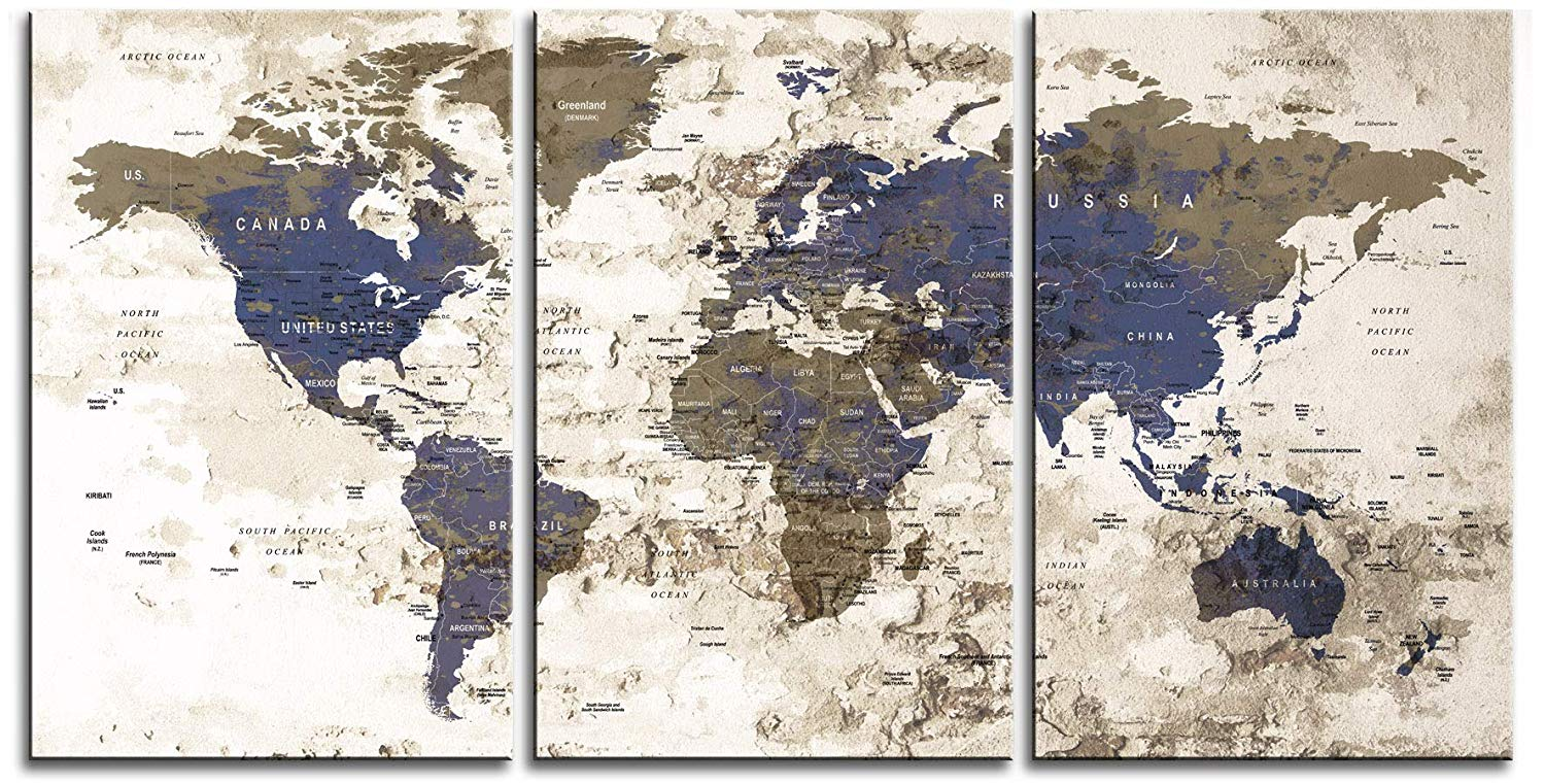 "Original by BoxColors LARGE 30""x 60"" 3 panels 30x20 Ea Art Canvas Print Watercolor Beige Old Map World Push Pin Travel Wall home decor (framed 1.5"" depth) M1811"