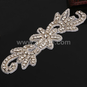 Factory wholesale garments accessories patches custom made hand embroidery designs bridal sash belts beaded rhinestone applique
