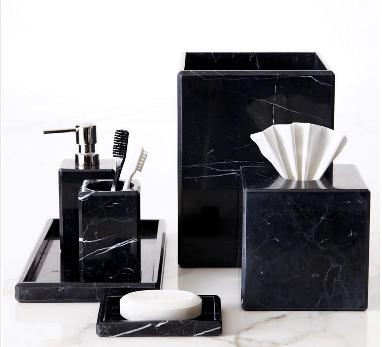 Noir marbre bain ware salle de bains accessoires ensemble liquide distributeur de savon naturel - Accessoire salle de bain noir ...