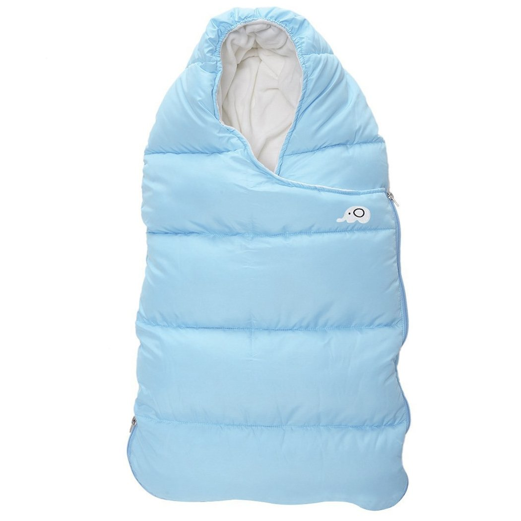 "Kisbaby Unisex Baby Removable Synthetic Down Sleeping Bag 3.5 Tog Winter Double Zipper Bunting Bag for Newborn Baby 0-24 Months 35"" x 17"" (Blue)"