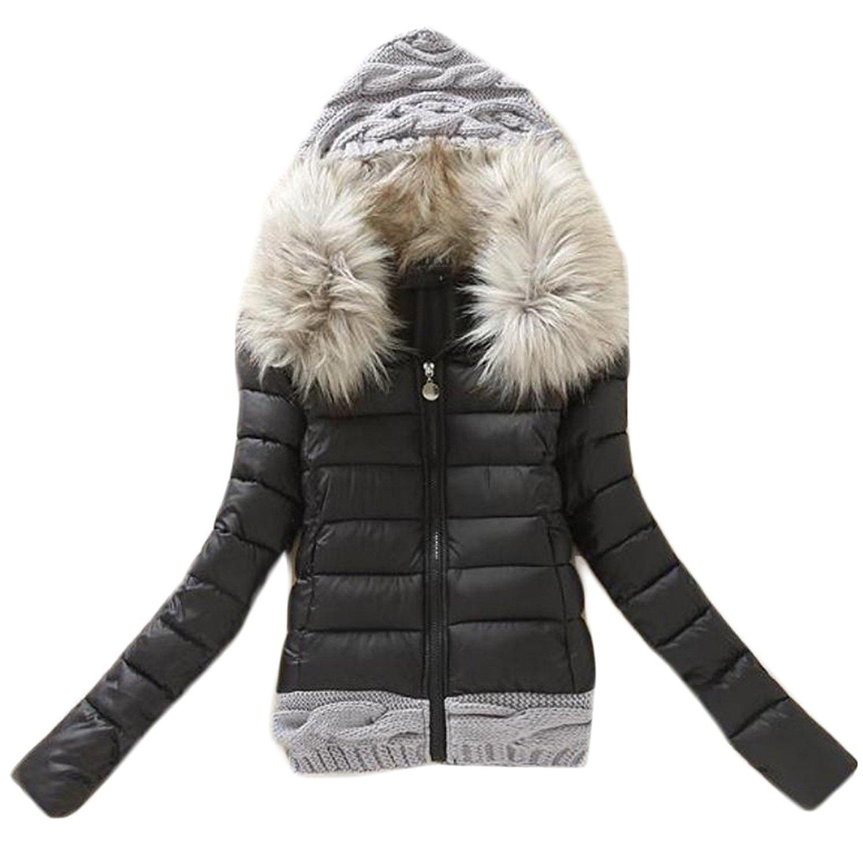 50b6020009c3 Get Quotations · Papijam Womens Parkas Coat Fur Collar Warm Knit Splice Quilted  Jacket Black S