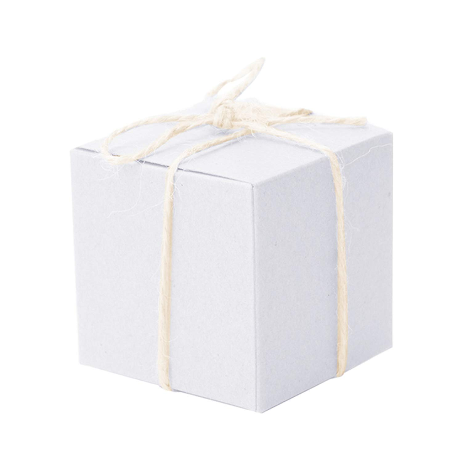 50Pcs Paper Candy Box Square Shape Wedding Favor Gift Party Supply Packaging Bag with Burlap Twine Chic,White