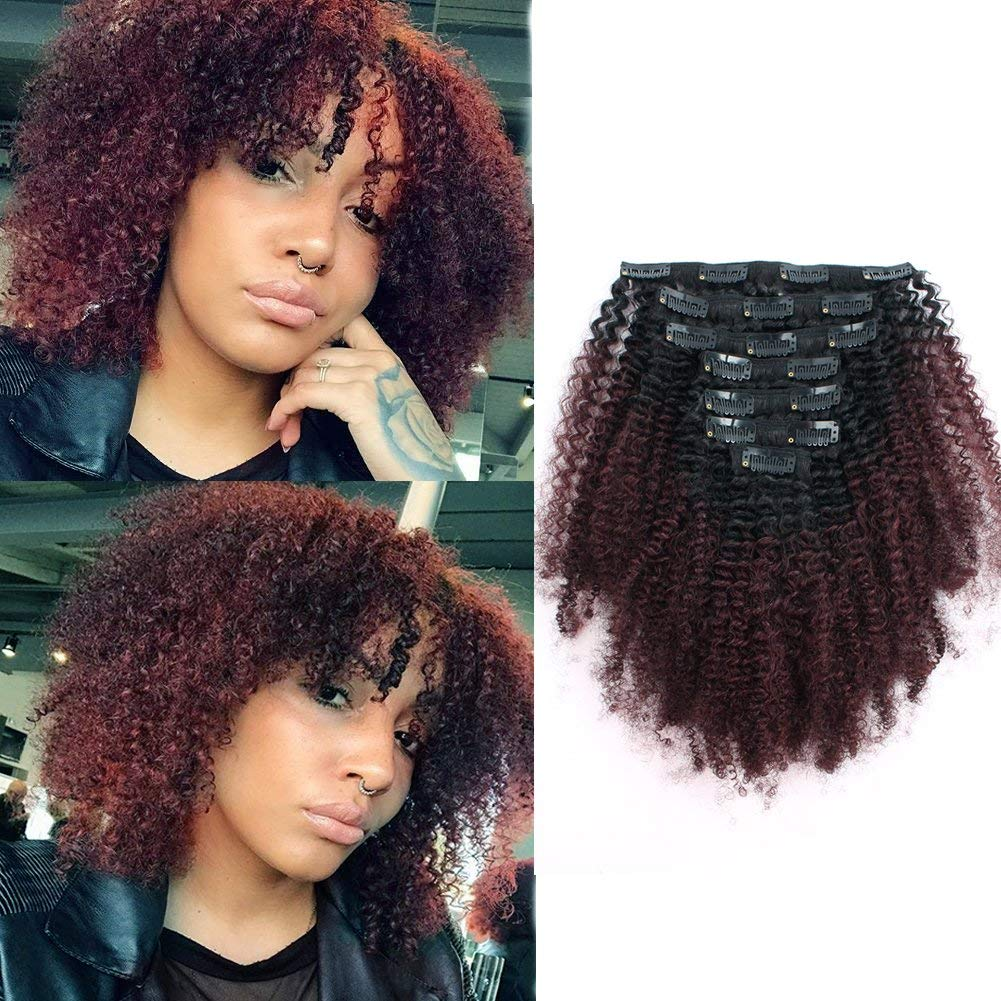 Sassina Seamless Two Tone Afro Kinky Curly Human Hair Extensions Double Wefts Clip on Remi Hair Natural Black Fading into Cherry Wine 120 Grams/Set With 7 Pieces 17 Clips AC TN99J 14 Inch