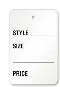 """Large Garment Tag, 2-7/8"""" x 1-3/4"""", """"No, Style, Prc"""", White, No, 1000 Tags / Pack, 1.75"""" x 2.875"""""""