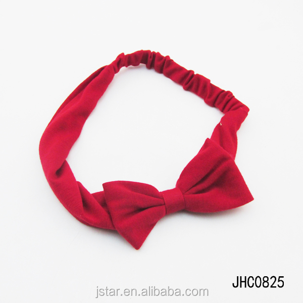Jersey solid bow fabric headband cute hair bows