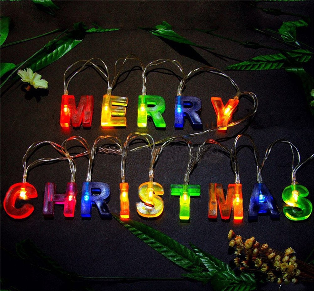 Leagway MERRY CHRISTMAS lights, Multi-color Merry Christmas Letter Battery Operated LED String Light Banner, Christmas Party Decor Supplies for Christmas Xmas Party Home Decorations