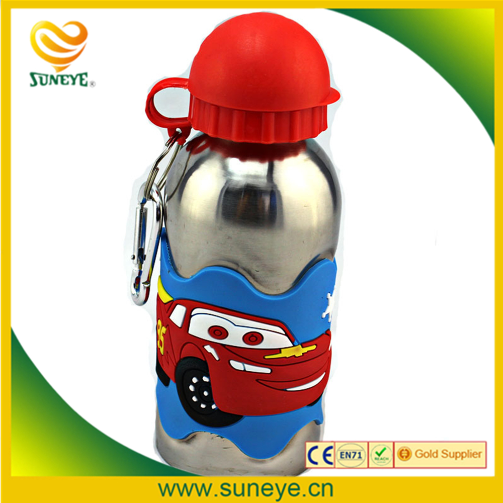 Children Water Bottles 3D PVC Embossed Red Car 304 Stainless Steel With Clasp School kids Travel Kettle Drinkware Tools