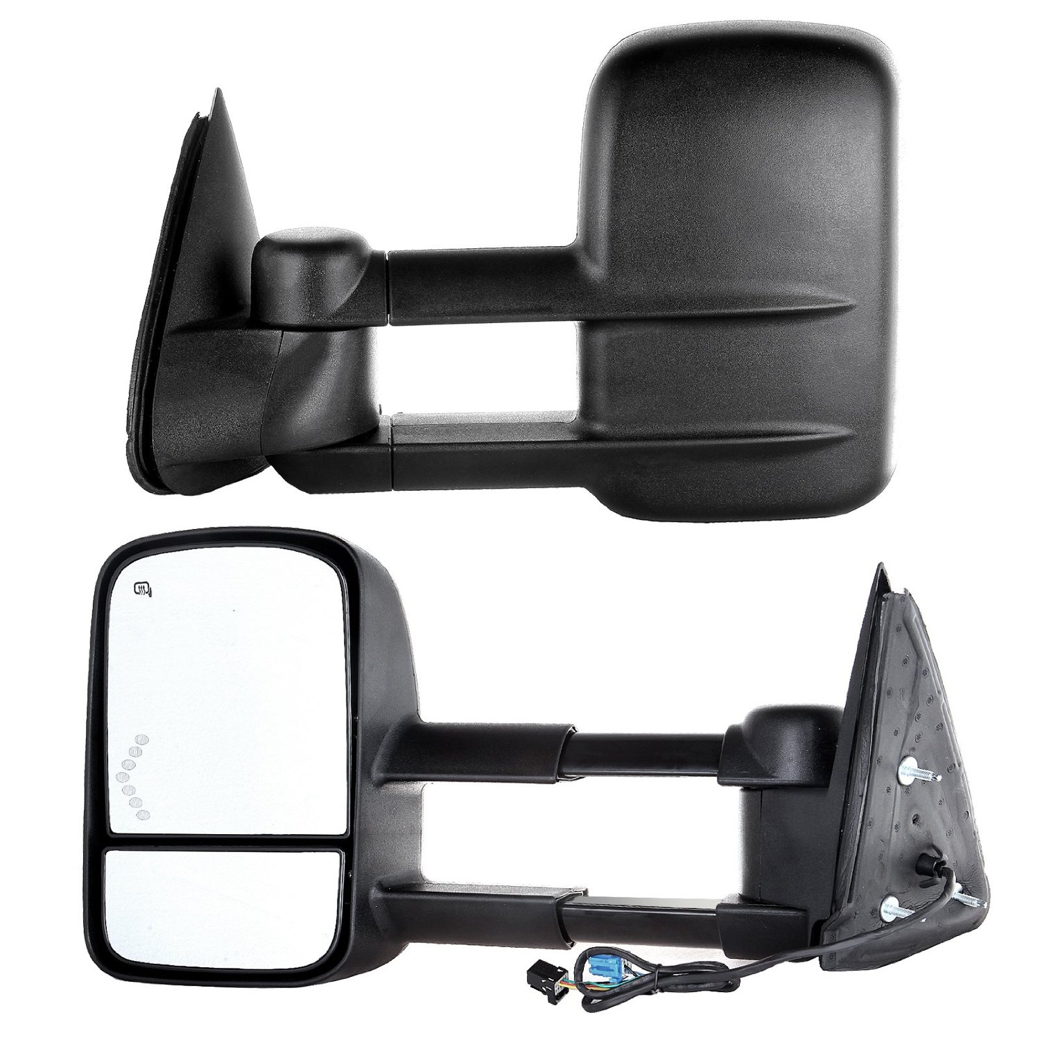 Scitoo Power Heated Arrow LED Signal Side Mirror for 03-07 Chevy/GMC Silverado/Sierra Towing Mirrors Pair Set (07 Classic)