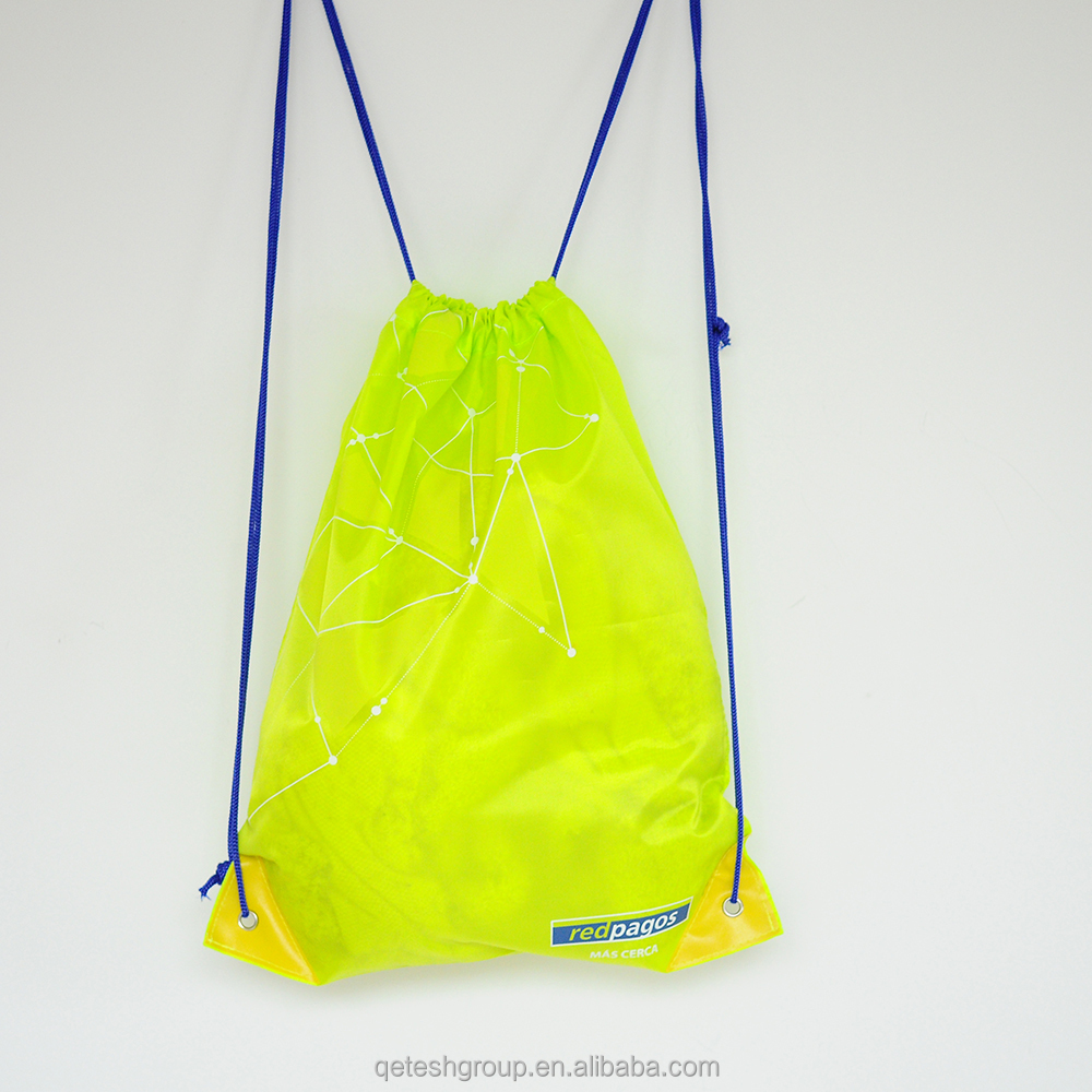 Customized Light Yellow Silk Screen Polyester Drawstring Backpack