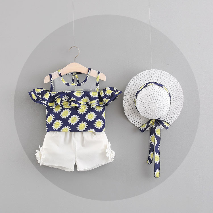 Fashion Girls Clothing Set 2018 Summer Baby Girls Clothes Cotton Floral Printed Tops+Shorts Children Clothes