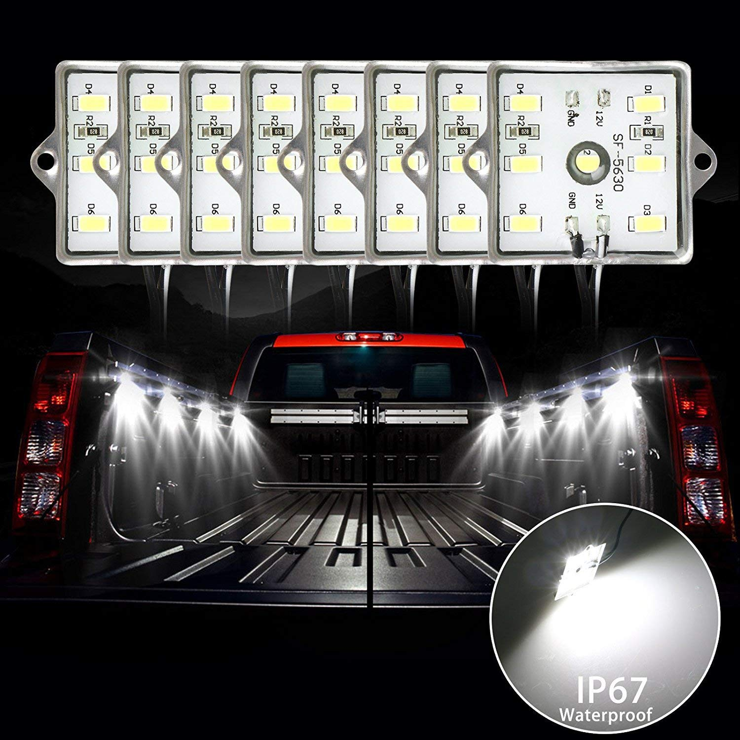 LinkStyle 48 LEDs Truck Bed Light Kit 2Pcs 4 Pods Truck Bed Cargo Lights LED Bed Rail Light Kit with On/Off Switch & IP67 Waterproof for Pickup Truck, RV, SUV, Boats, Unloading Cargo Area- White