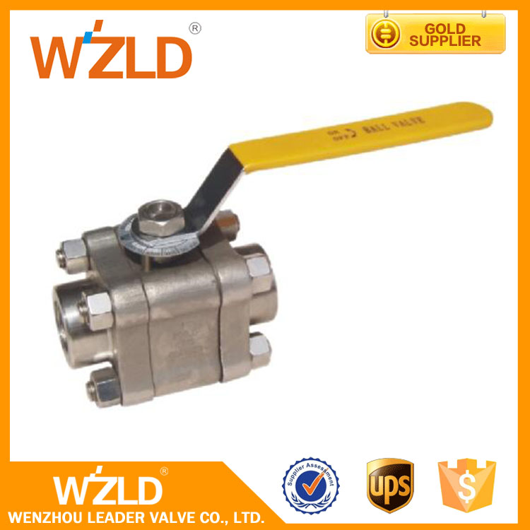 "WZLD Mini 1/2"" Inch 3Pc ISO 9001, API 600 Forged Steel Trunnion Mounted Stem Ball Valve"