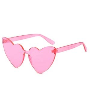 3c05db5098 3022 OEM one piece rimless love heart sunglasses 2019 transparent designer candy  color love heart sun