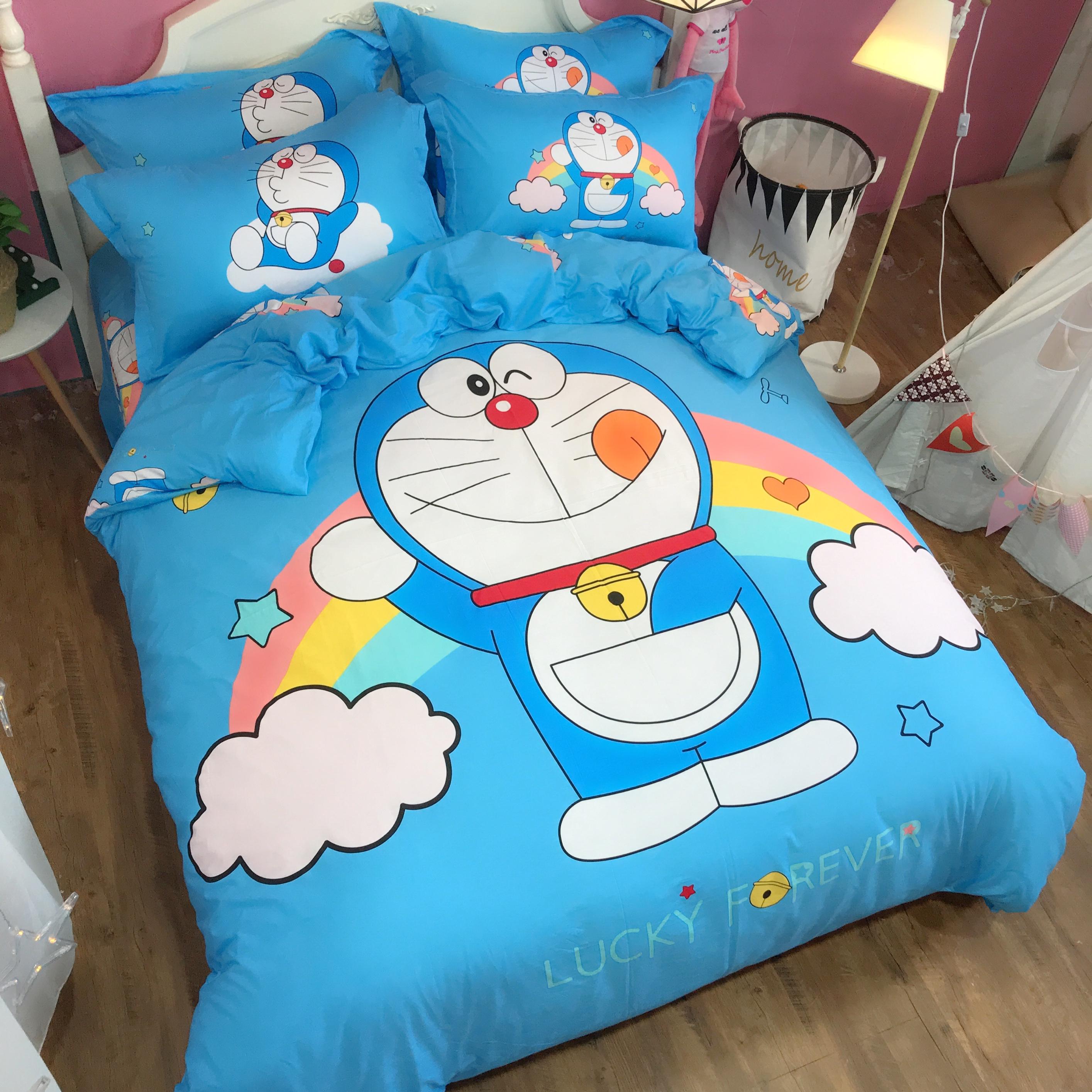 sports shoes b2f64 bfbf7 Cartoon Pokonyan Doraemon 100% Cotton Printed Fabric Children 3pcs  Wholesale Luxury Comforter Home Kids Bedding Set - Buy Bedding Set,100%  Cotton ...