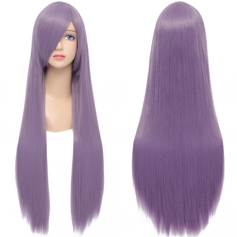 Buy Fashion Women  39 s Hair Wig Smoke Purple Long Straight Synthetic Hair  Heat Resistant Wig for Cosplay Party Costume 80cm 100cm in Cheap Price on  ... 1c08633a2
