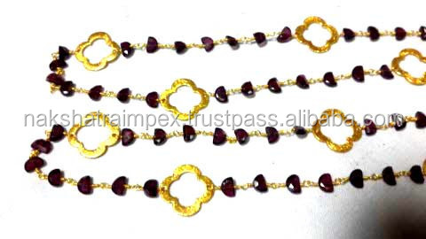 Garnet Half Moon Facet 925 Sterling Silver Beaded Chain Gold Plated Necklace Set With Quatrefoil