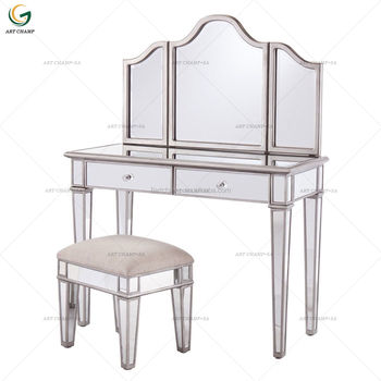 Modern Home Furniture 2 Drawer Antique Silver Mirrored Makeup Dressing Table with Folding Mirror