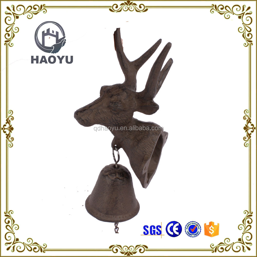 Cast Iron <strong>art</strong> and crafts deer head Wall Hanging Bells for garden