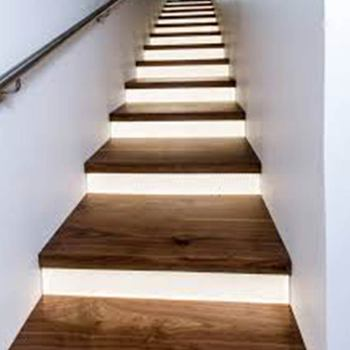 Stairs In Wood With Led Light Under Each Step Led Stair Light