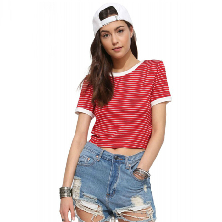 b35a67e3376 Get Quotations · Women Sexy Crop Tops Cropped Summer Casual Camisetas 2015  Patchwork Red White Striped Short Baseball Sport