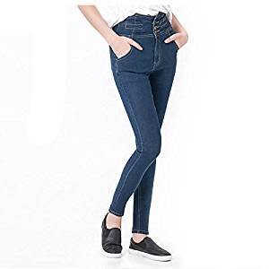 Women Jeans - TOOGOO(R)Woman's Fashion Plus Size Women High Waist Vintage Button Full Length Elastic Skinny Jeans Pencil denim Pants(blue,6XL/US-16)