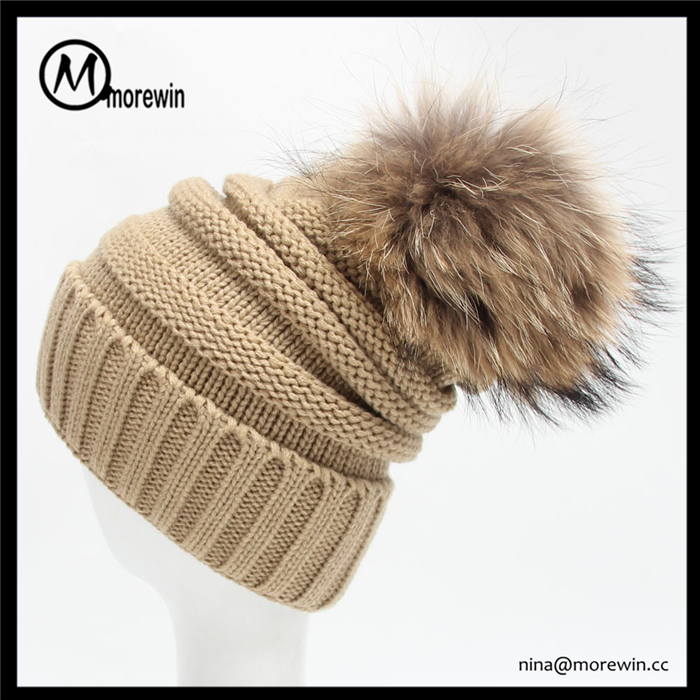 Morewin Brand Big Fur Pom Pom Winter Hats cc beanie hat