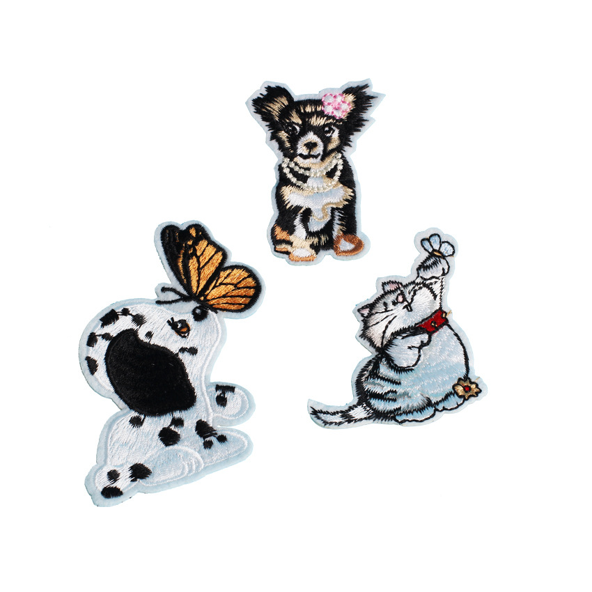 dogs cats cartoons patches embroidery patches for denim jackets