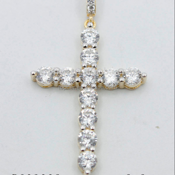925 sterling silver cross pendant inlay white CZ with 14K Gold plated 2f276b59c77b