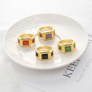 gold beautiful hot square mans ring men's crystal ring