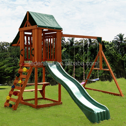 Outdoor Park Wooden Play house with Swing And Slide Set