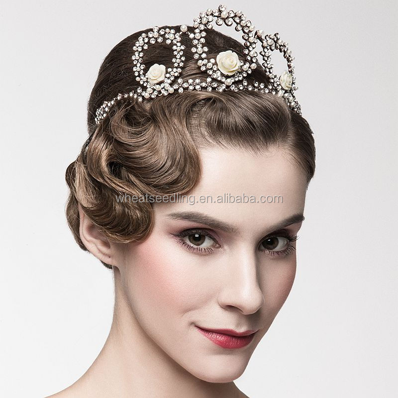 Vintage Bridal wedding jewelry set fashion gold crystal flowers crown tiaras charming pearls drop earrings for women gift