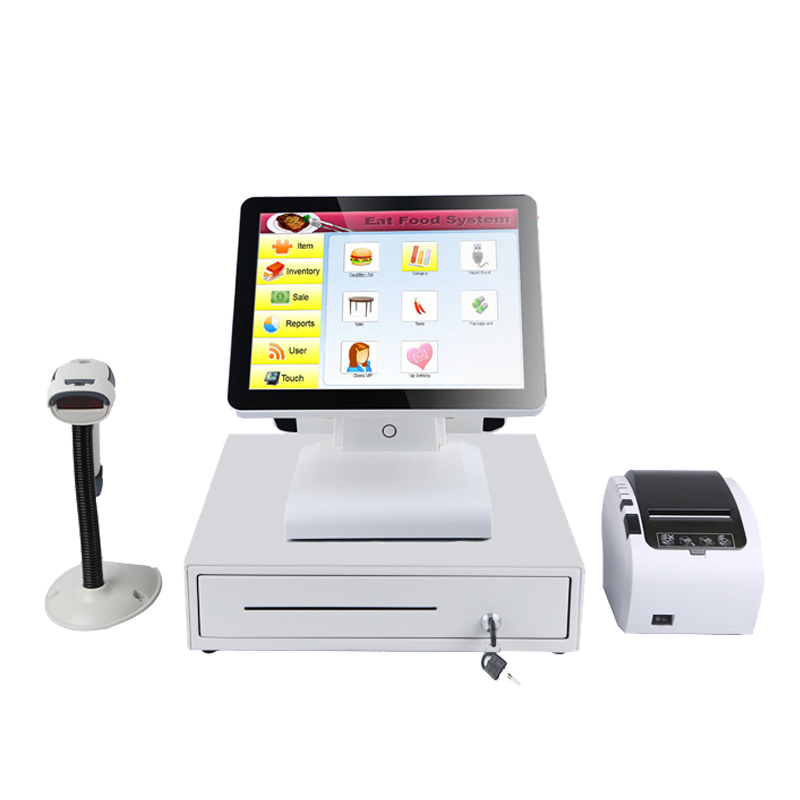 Hot selling 15'' all in one pos touch terminal with 80mm pos printer/cash box/barcode reader windows pos system