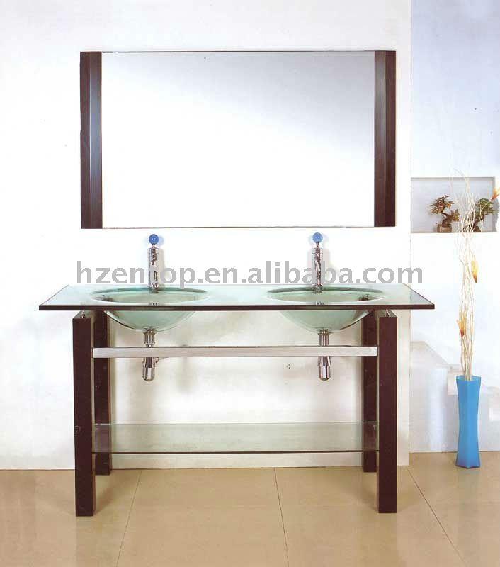 Doppio lavello da bagno grande formato vanit ripiano in vetro mobile lavabo con gambe in legno - Mobile bagno doppio lavello ...