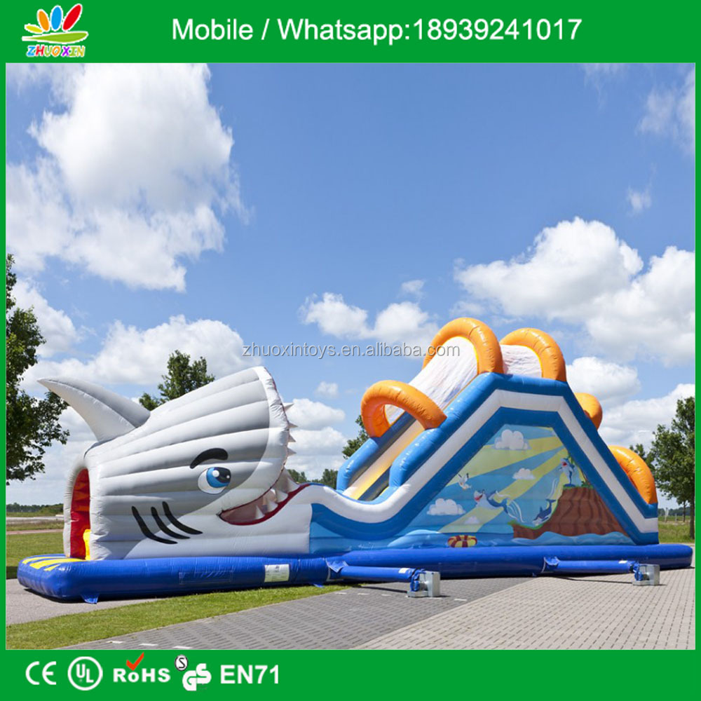 Amazing kids Playing New Slide Inflatable Shark attack slide