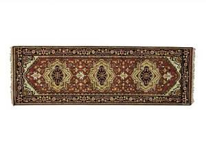 S&H Rugs sh23167 3 x 8 ft. Runner Tribal Design Serapi Heriz Hand Knotted Oriental Rug, Rust Red - Light Green & Gold