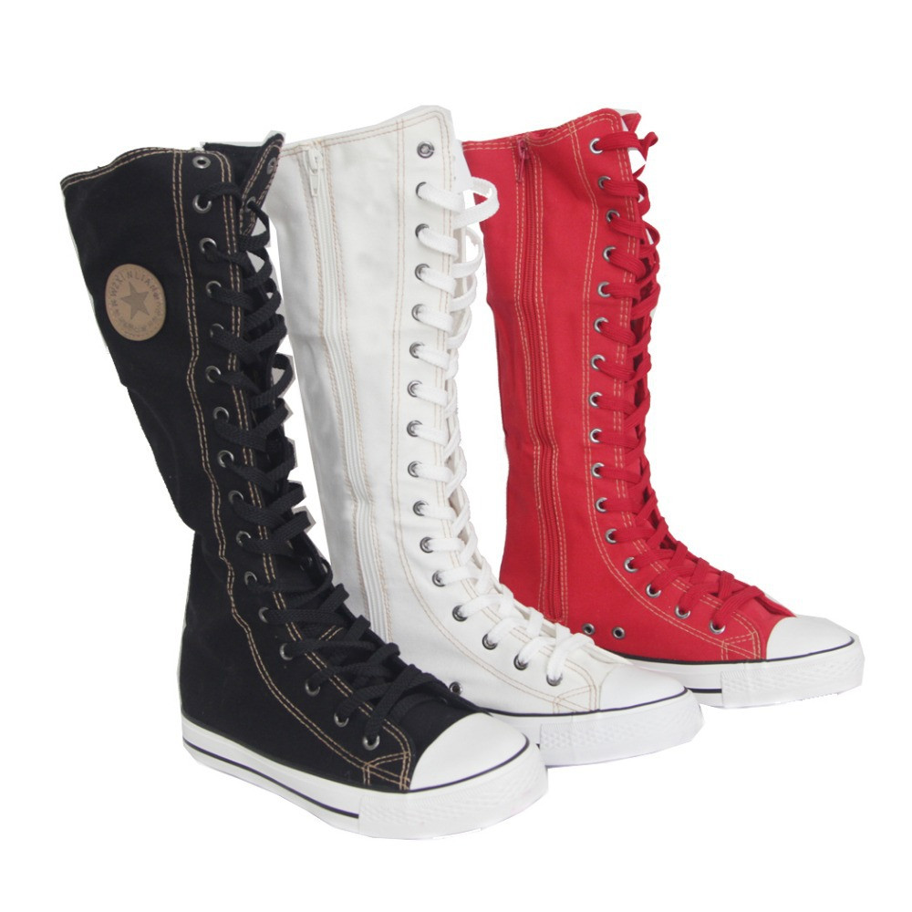 4bc2702436b Get Quotations · Womens Sneaker Knee High Lace Up Boots woman canvas shoes  Sneakers sport casual shoes for women