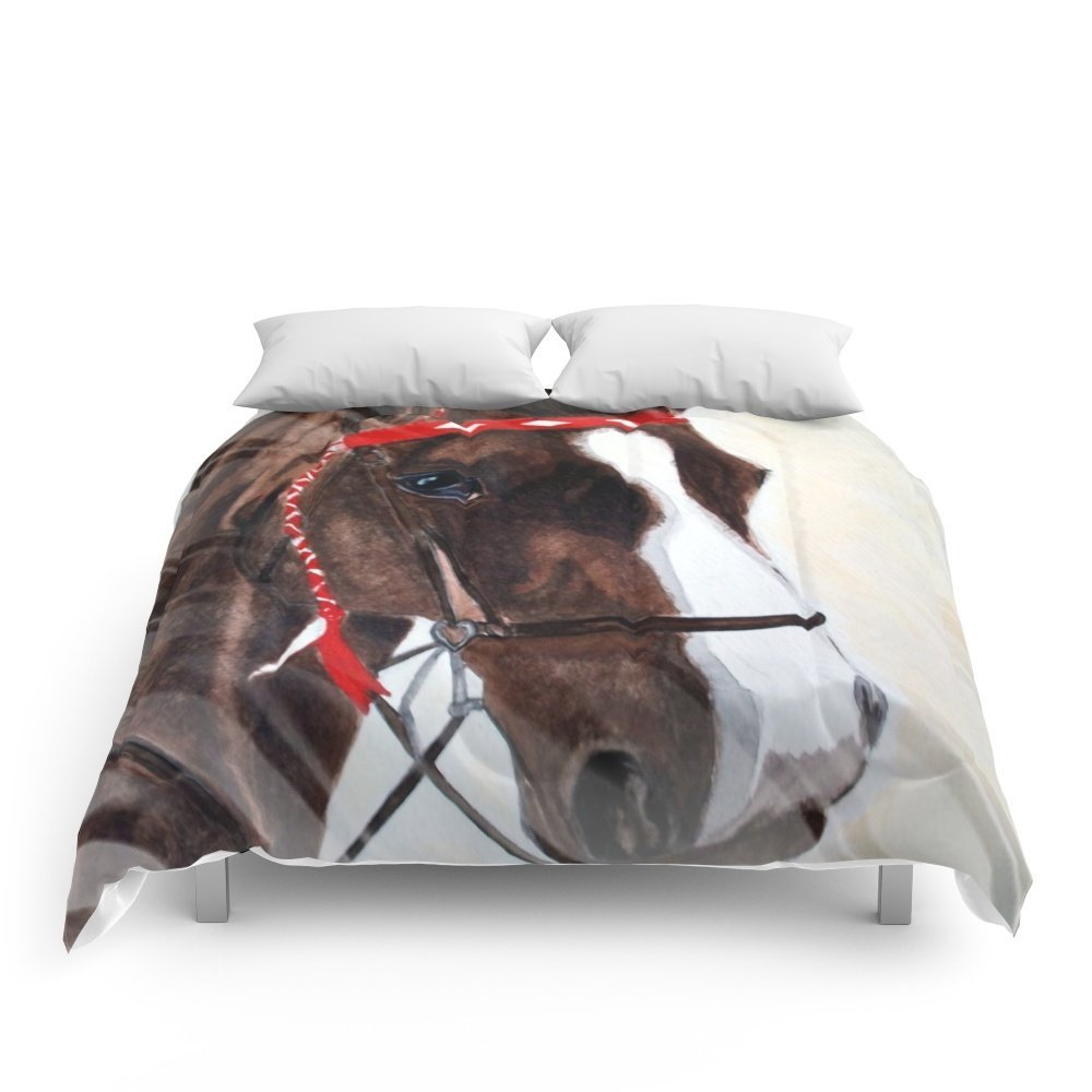 """Society6 Brown Horse Portrait Comforters Full: 79"""" x 79"""""""