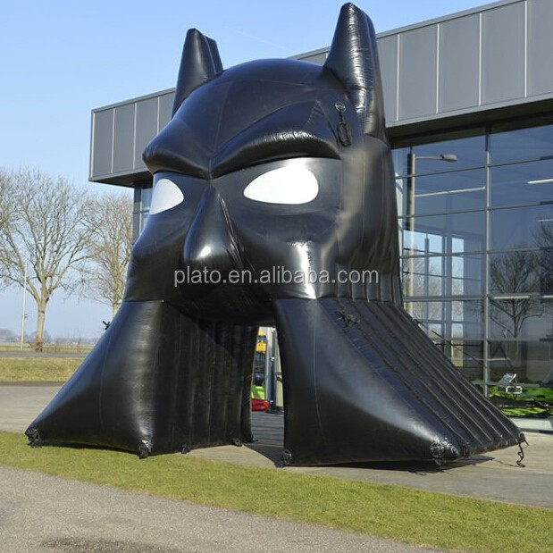 Large black playground inflatable cartoon arched entrance door /inflatable Batman sport tunnel for outdoor play